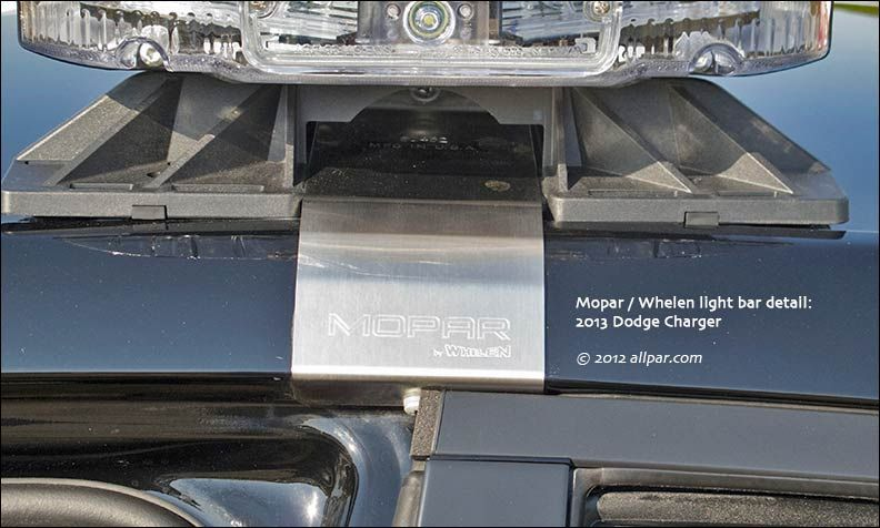 Lightbars for Dodge Charger Pursuit police vehicles. Shown