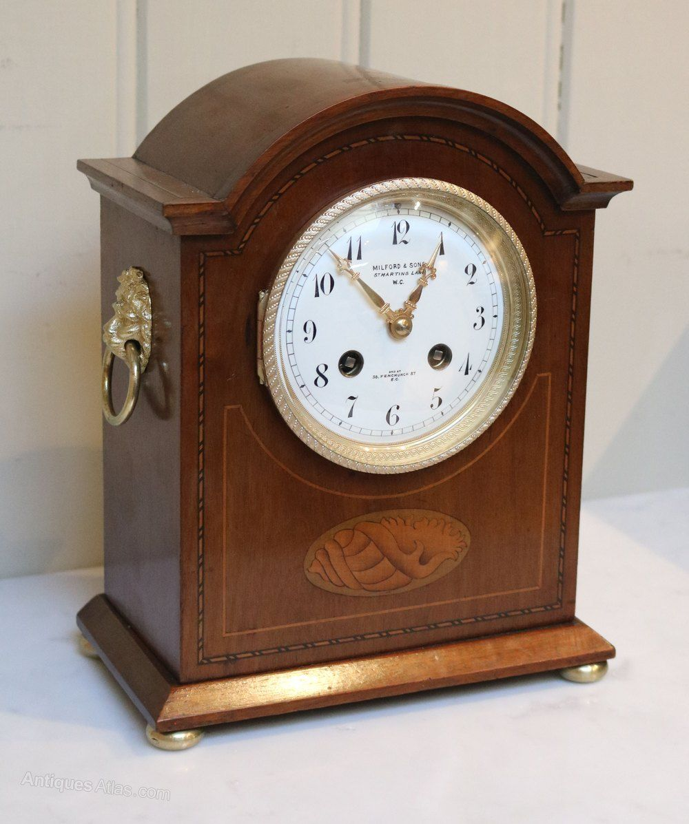Edwardian Mahogany And Inlay Striking Mantel Clock Antique