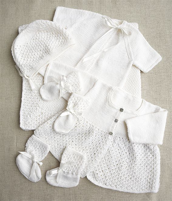 How to knit our classic baby layette comprising matinee coat, vest, bonnet, b...