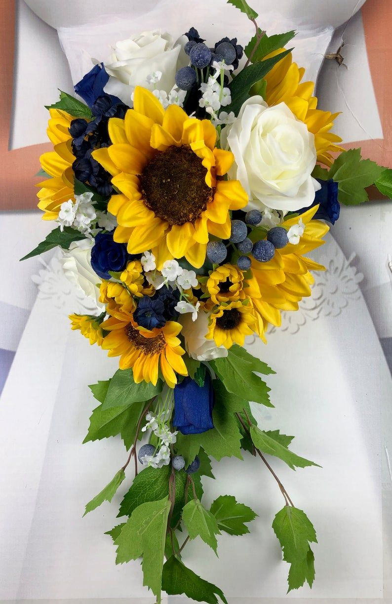 Artificial Navy and Sunflower Bridal Bouquet, Navy and