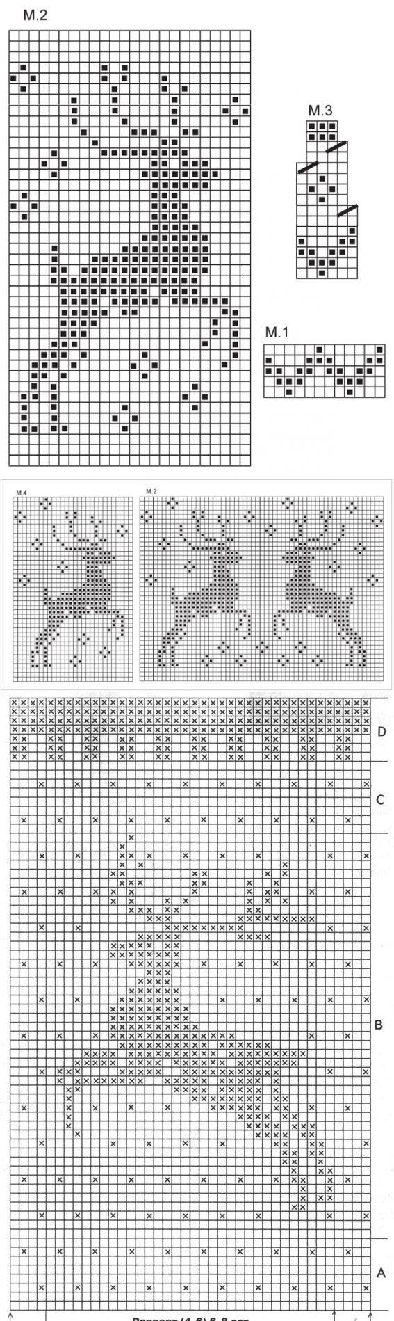 Узоры спицами | Strickpullover, Hirsche und Strickmuster
