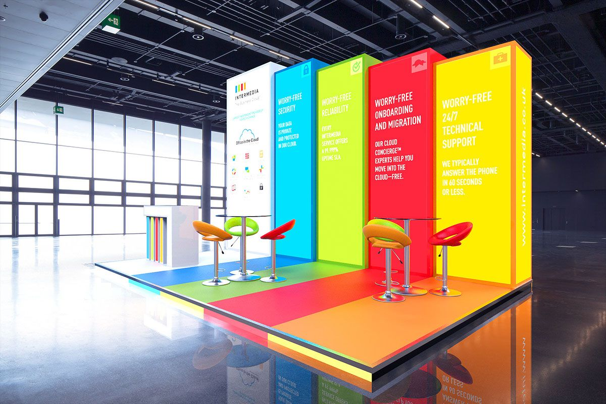 Exhibition Stand Or Booth : Colorful booth idea and with all of those panels backlit it