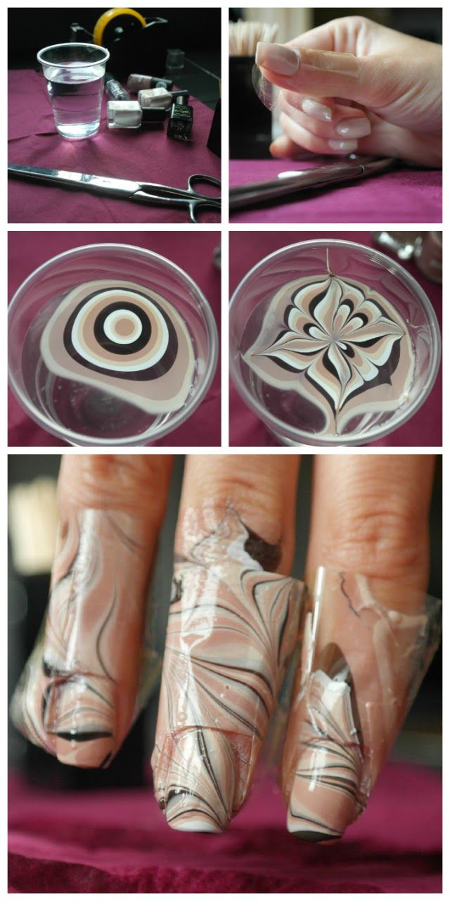 Water marble nail art tutorial - My Style | Pinterest - Nagel