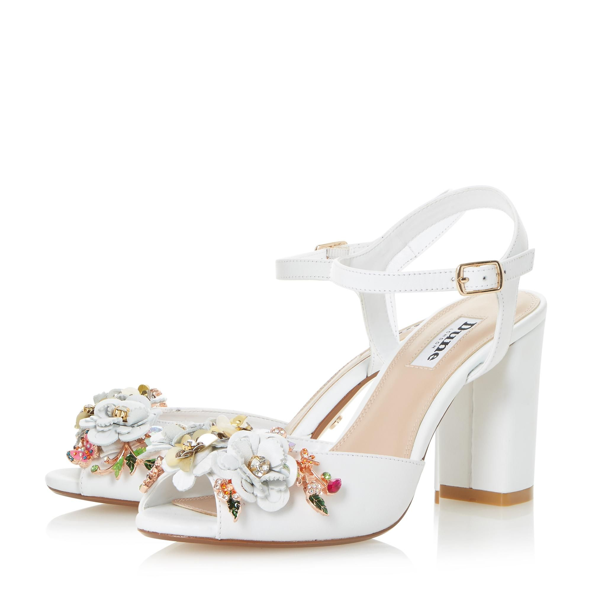 Mackaya Flower Garden Block Heel Sandal Wedding Shoes Block