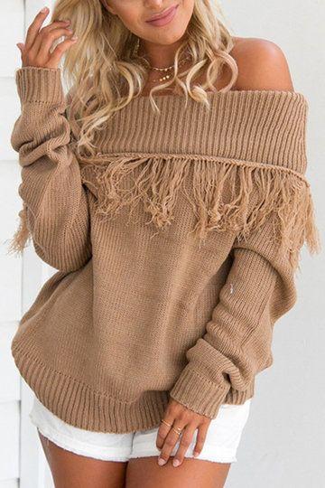 2edf4ccb1d076 Camel Tassel Embellished Off Shoulder Sweater   My Style   Off ...