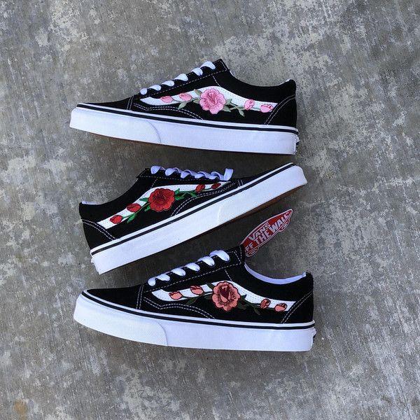 Custom Rose Vans Rose Vans Vans With Roses Custom Vans Rose Vans ...