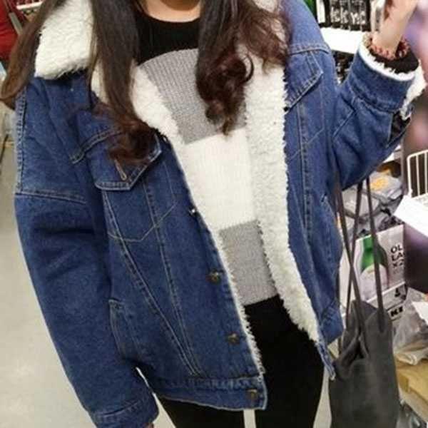 37acd79644307 fleece fur lined denim jacket faux fur denim jacket casual sherpa lined  denim coat blue vintage fur winter denim jacket fashion coat christmas  gifts Black ...