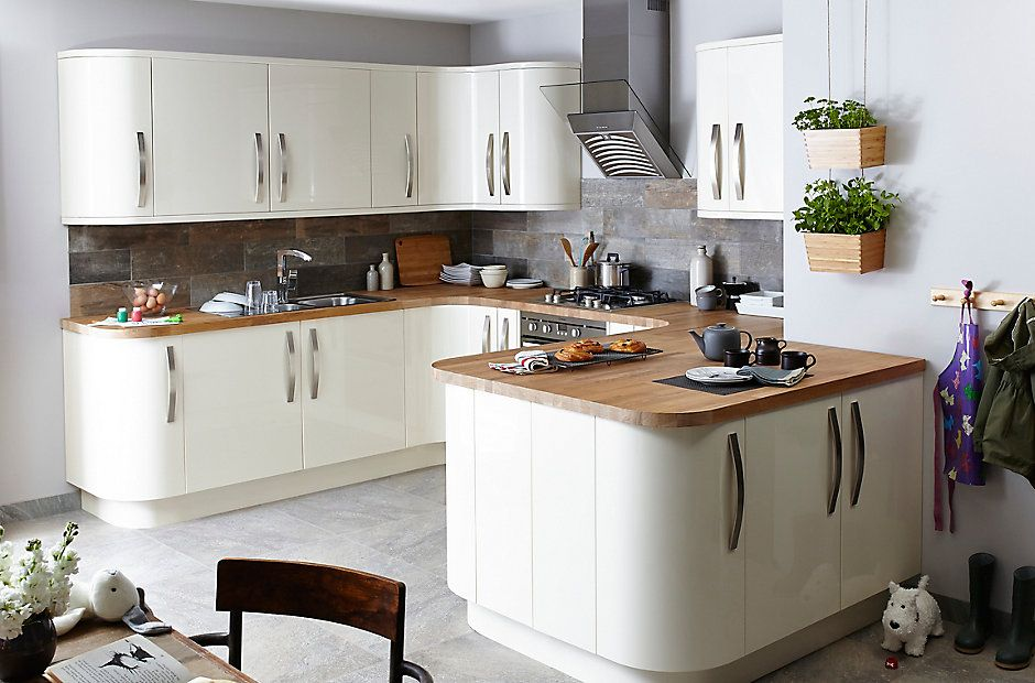 Glossy cream kitchen cabinets google search ideas for for Google muebles de cocina