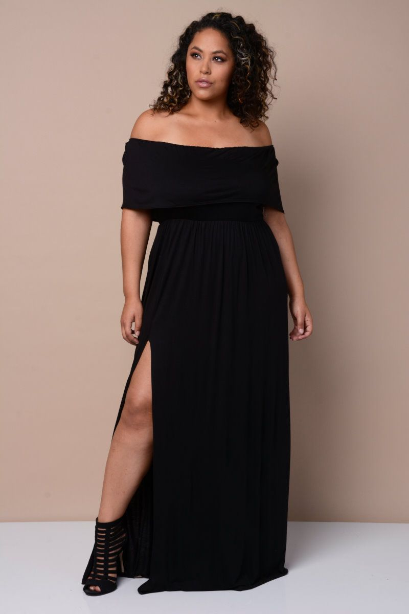 dde91ce27f23 Fold Over Off Shoulder Maxi Dress | Plus Size Apparel in 2019 ...