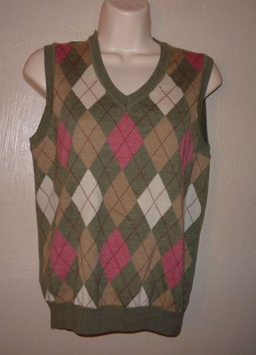 346 Brooks Brothers Green Pink Tan Argyle Merino Wool Sweater Vest ...