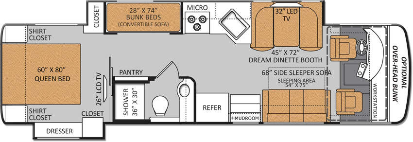 33 3 Bunkhouse Diesel Pusher Floorplan I Want This