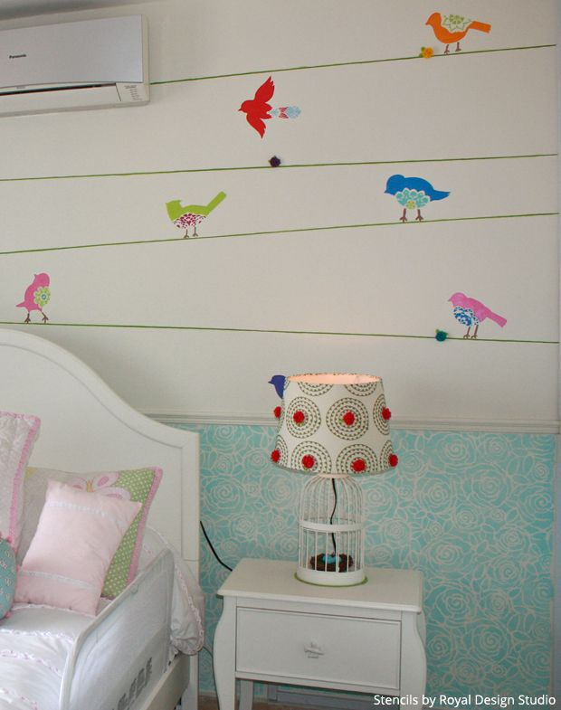 Sweet Tweet Birds Stencil Set For A Girls Bedroom | Paint + Pattern