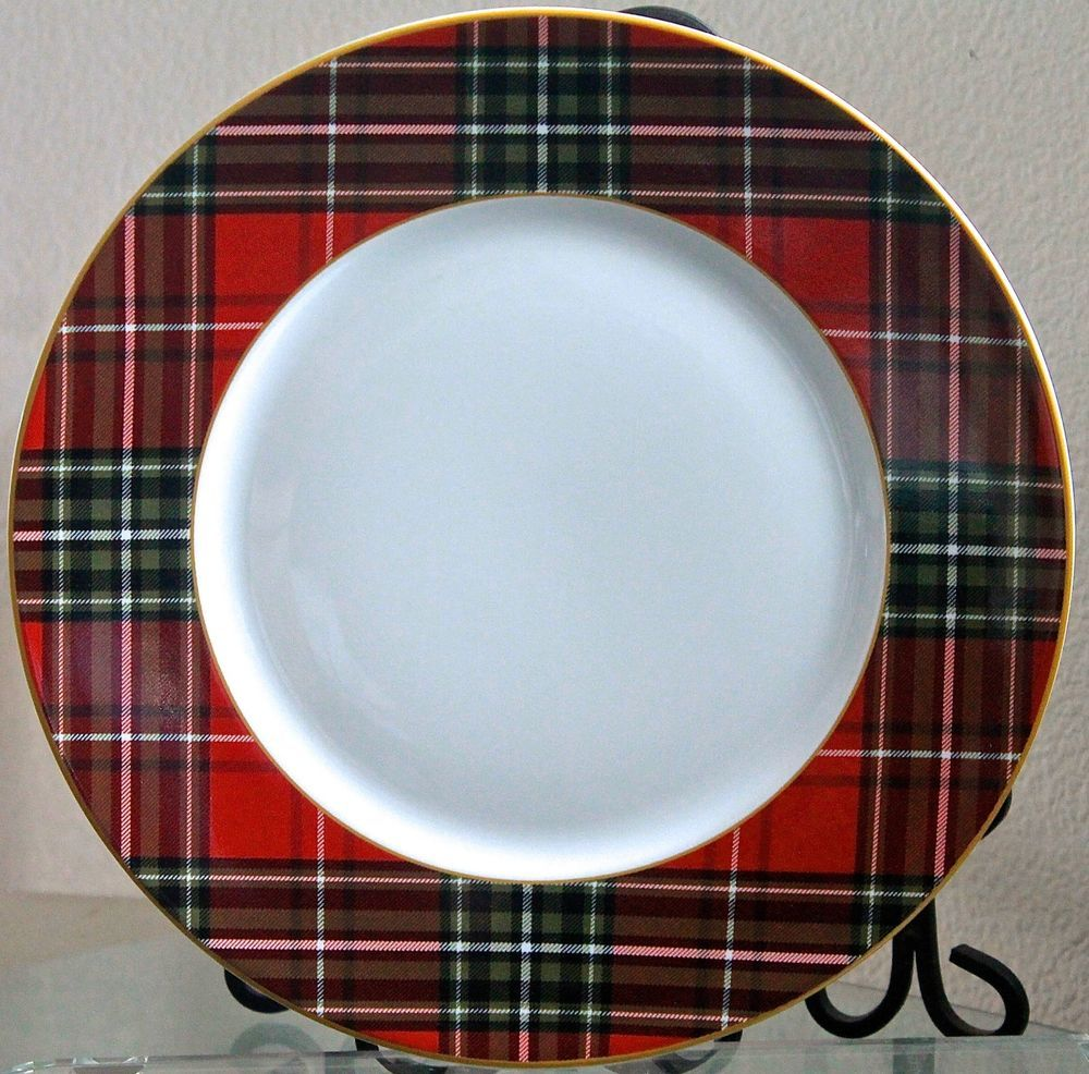 222 FIFTH WEXFORD RED DINNER PLATE ROUND CHRISTMAS PLAID NEW PORCELAIN | eBay & 222 fifth wexford red dinner plate round christmas plaid new ...