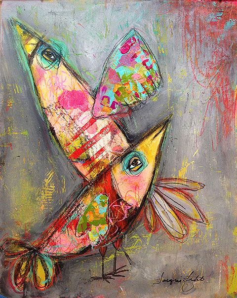 Whatjanesaw Art Bird Art Whimsical Art