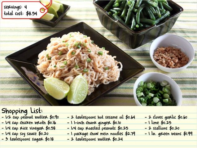 Cheap Eats!  Spicy Peanut Noodles with Green Beans for under 10 dollars! #dinner http://www.ivillage.com/dinner-under-10/3-b-433125#