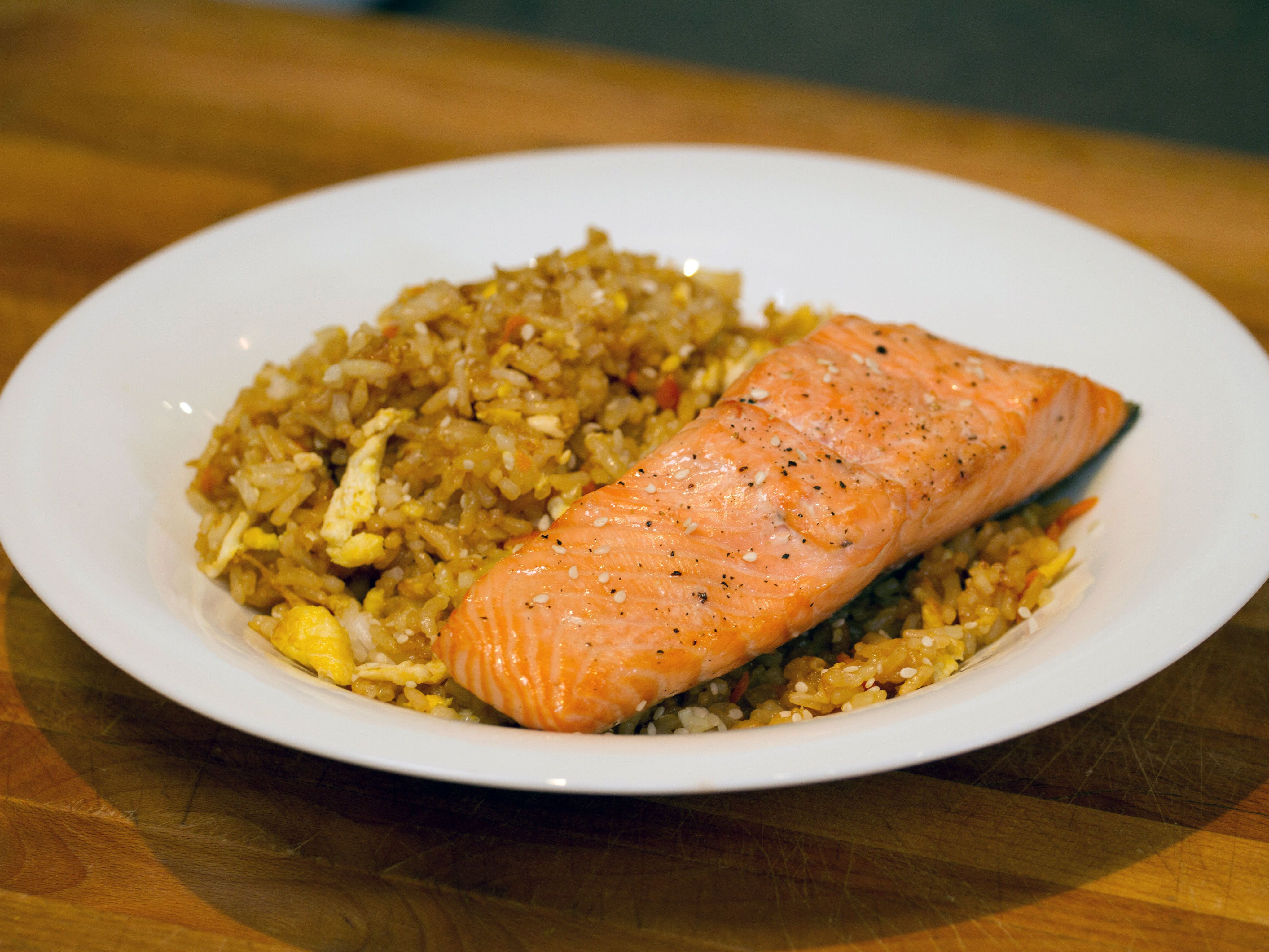 Fried Rice with Simple Baked Salmon Recipe Salmon