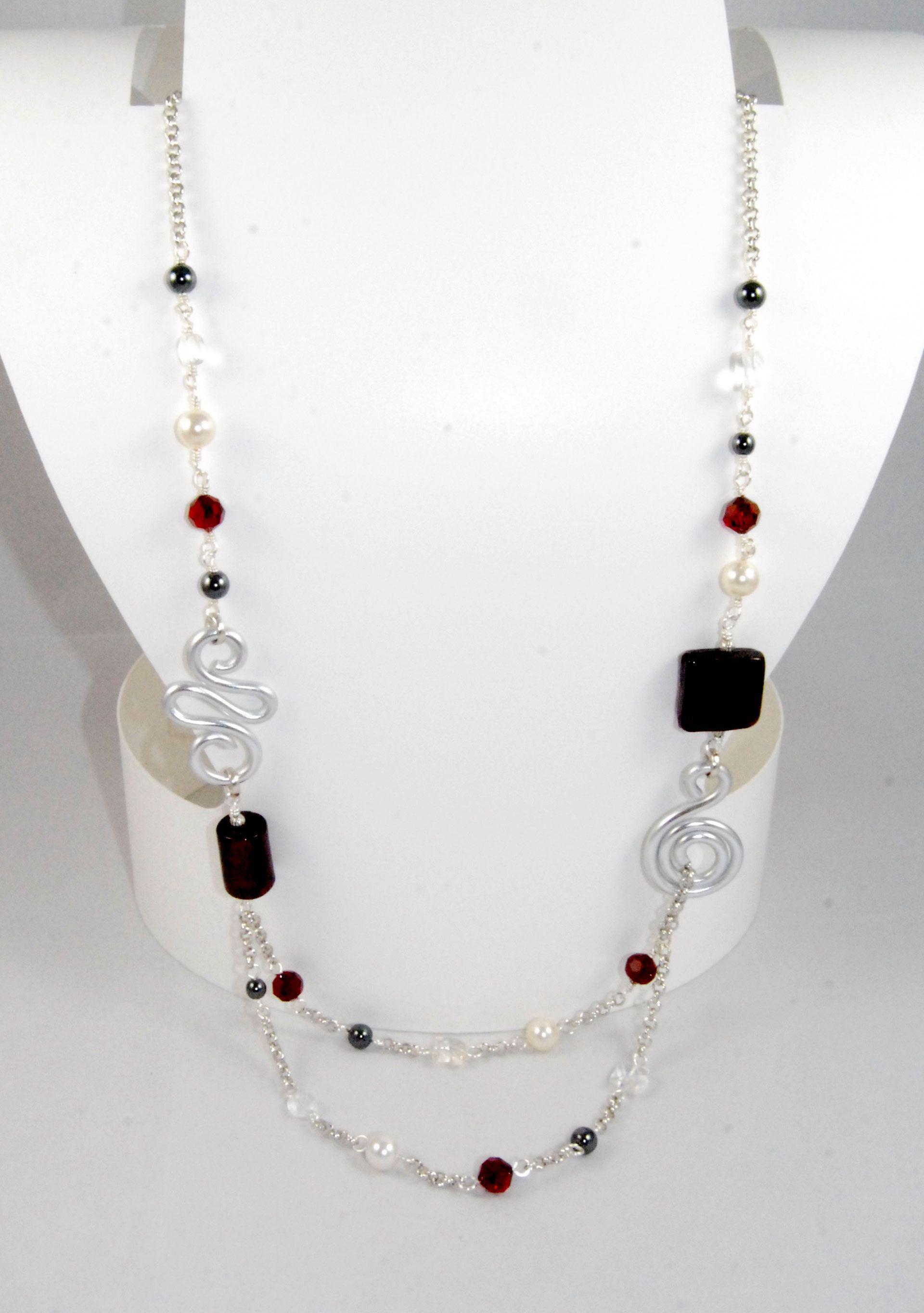 Collana con perle in vetro con foglia d\'argento, perle Swarovski ...