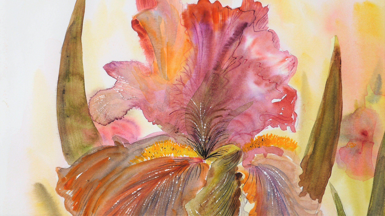 Original Art Original Botanical Watercolor Large Painting Large