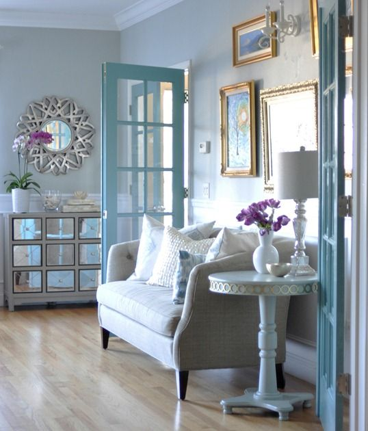 Lovely colors in this living room I like the french doors painted