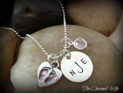New Baby Jewelry  Baby Feet  Hand Stamped  by thecharmedwife