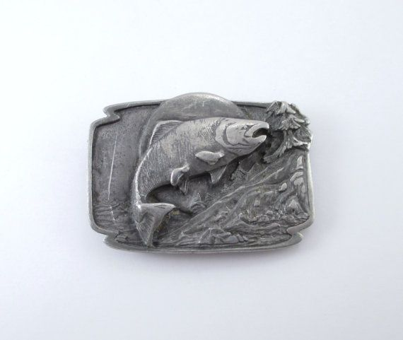 salmon belt buckle 1986 vintage pewter siskiyou by on walls legend hunting coveralls id=34389