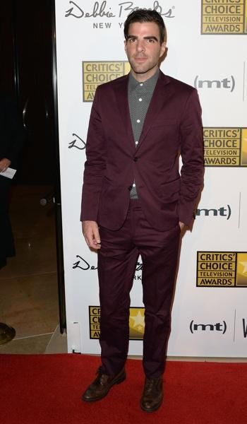 Zachary Quinto wines it down in burgundy Todd Snyder threads.