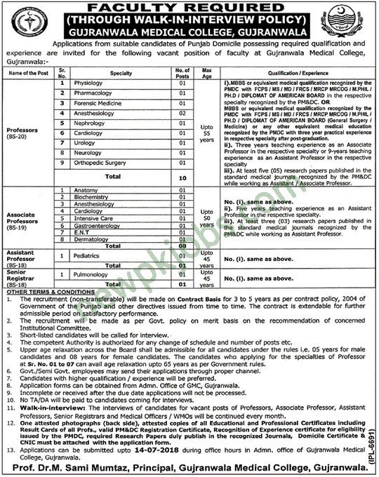 Jobs in Gujranwala Medical College 2018 Latest for