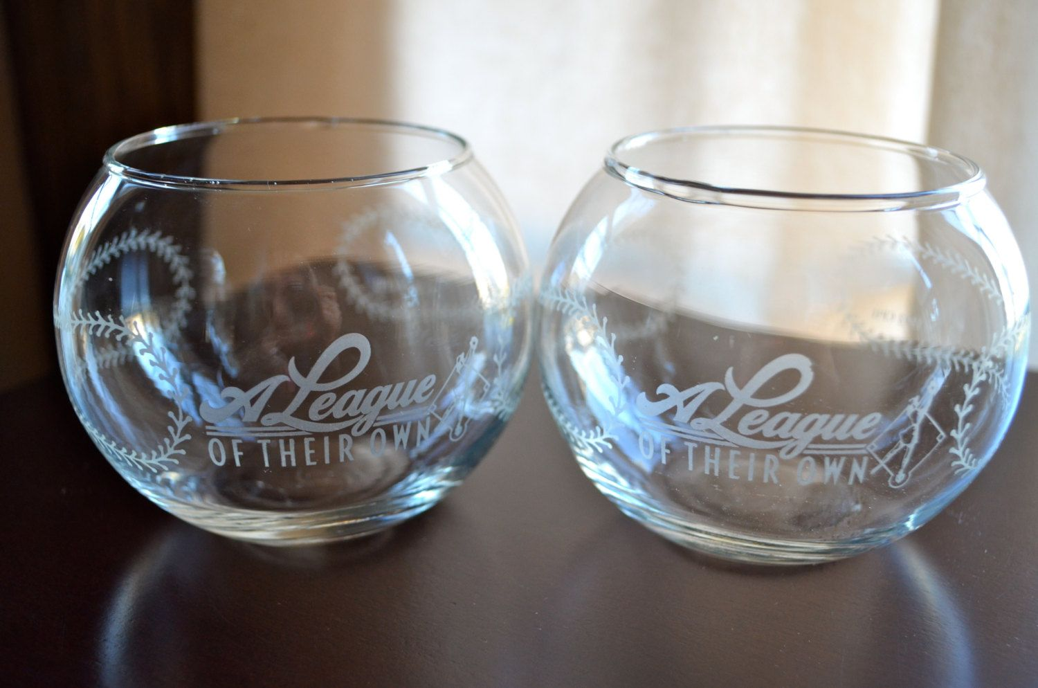 Rare 2 Vtg Baseball Drink Glasses A League Of Their Own Womens Baseball Etched New Unused By Blindi Glasses Drinking Baseball Wedding Theme Drinks