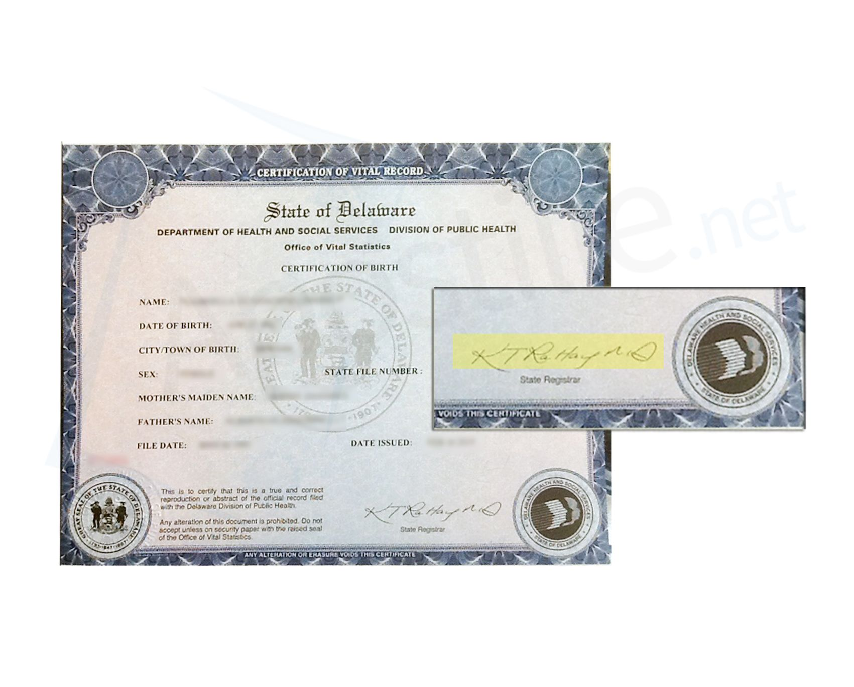 State Of Delaware Certification Of Birth Signed By Kary Thomas