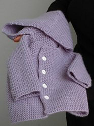 Garter Stitch Baby Sweater with Hood - pattern by Lara Neel. Did you know tha...