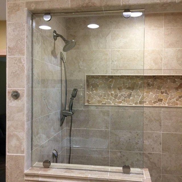 Bathroom shower focal point tile multi tumbled cobble for Bathroom designs 12x12