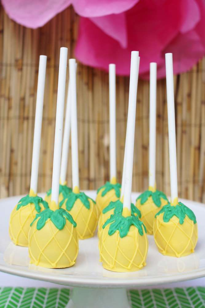 Pineapple Cake Pops At A Hawaii Birthday Party See More Ideas CatchMyParty