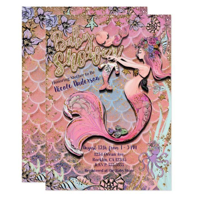 Glam Prego Mermaid Gold Glitter Baby Shower Invitation Custom