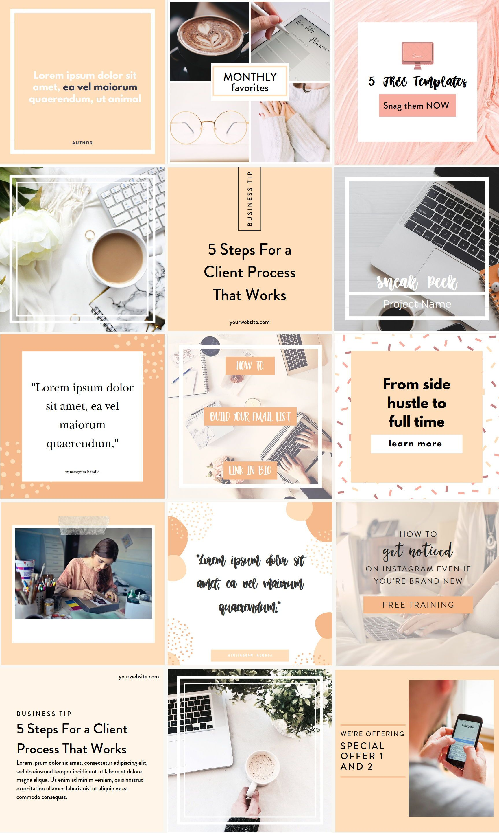 Instagram post templates in peach tones Instagram