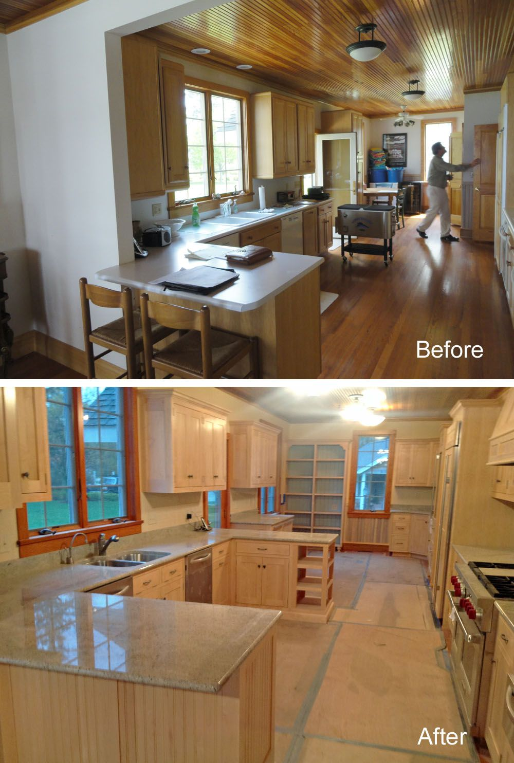 before and after of kitchen in lake home remodel <--- another