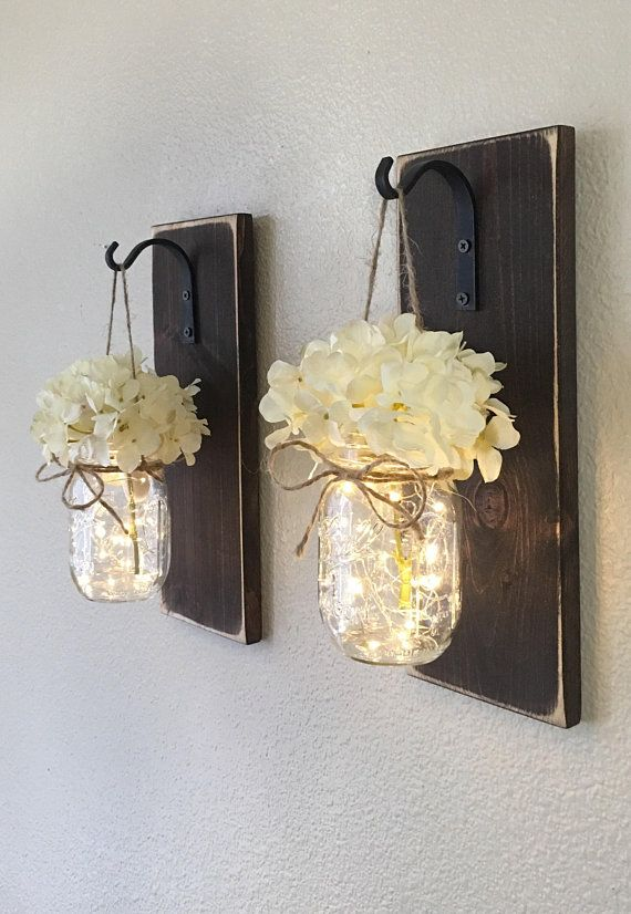 Set of mason jar wall sconces sconce decor country farmhouse etsy also rh pinterest