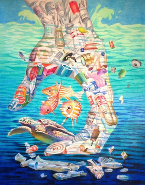 Ocean Awareness Poem Of The Ocean Man And Plastic Art