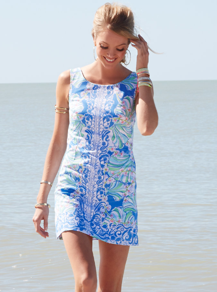 c9444696d9b3 Lilly Pulitzer Cathy Shift Dress in Bay Blue Coasting Engineered Shells -  Summer Must Have
