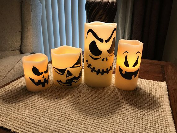 Set of 4 Scary Halloween LED Flameless Battery Powered Candles