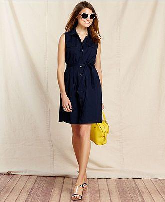9c8b739d0bf Tommy Hilfiger Dress, Sleeveless Shirtdress - Dresses - Women - Macys