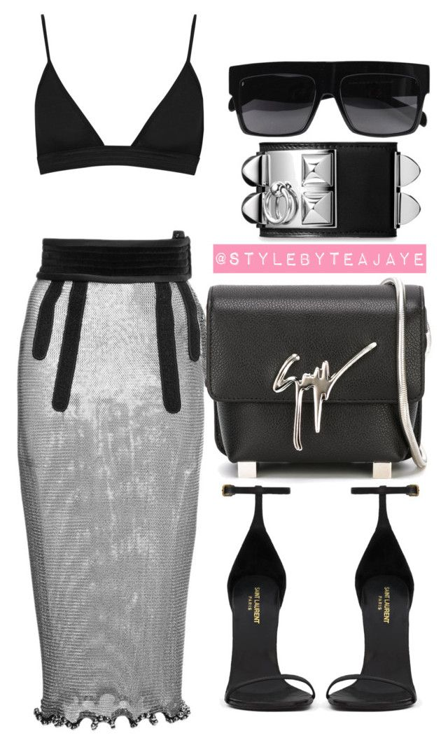 """""""Untitled #1957"""" by stylebyteajaye ❤ liked on Polyvore featuring Alexander Wang, T By Alexander Wang, Yves Saint Laurent, Giuseppe Zanotti and Hermès"""
