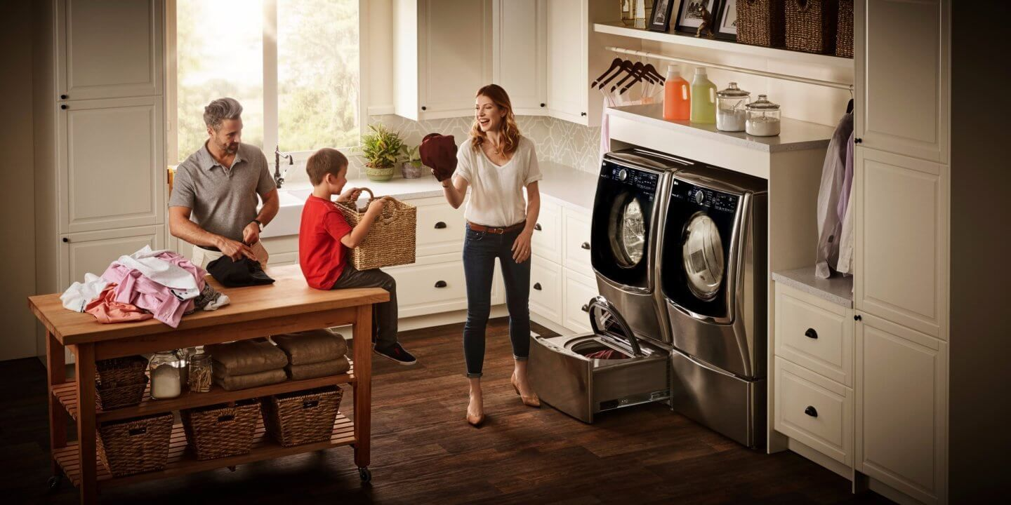 Bring A Little Joy To Wash Day With An LG Twin Wash Front Load Washer