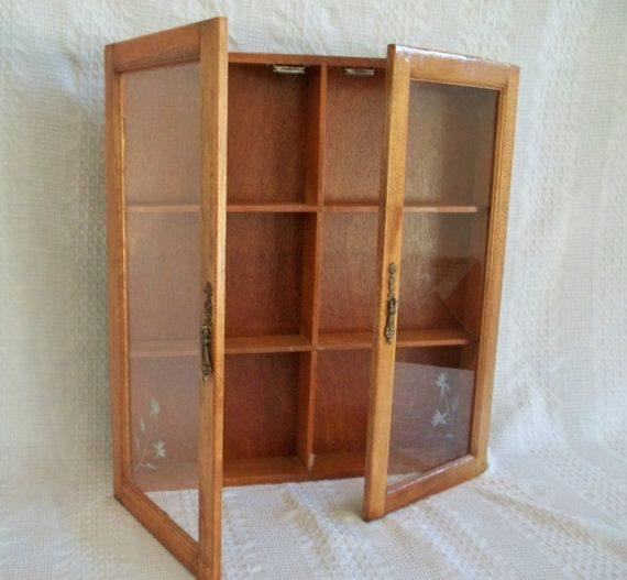 Vintage wooden wood wall display apothecary spice