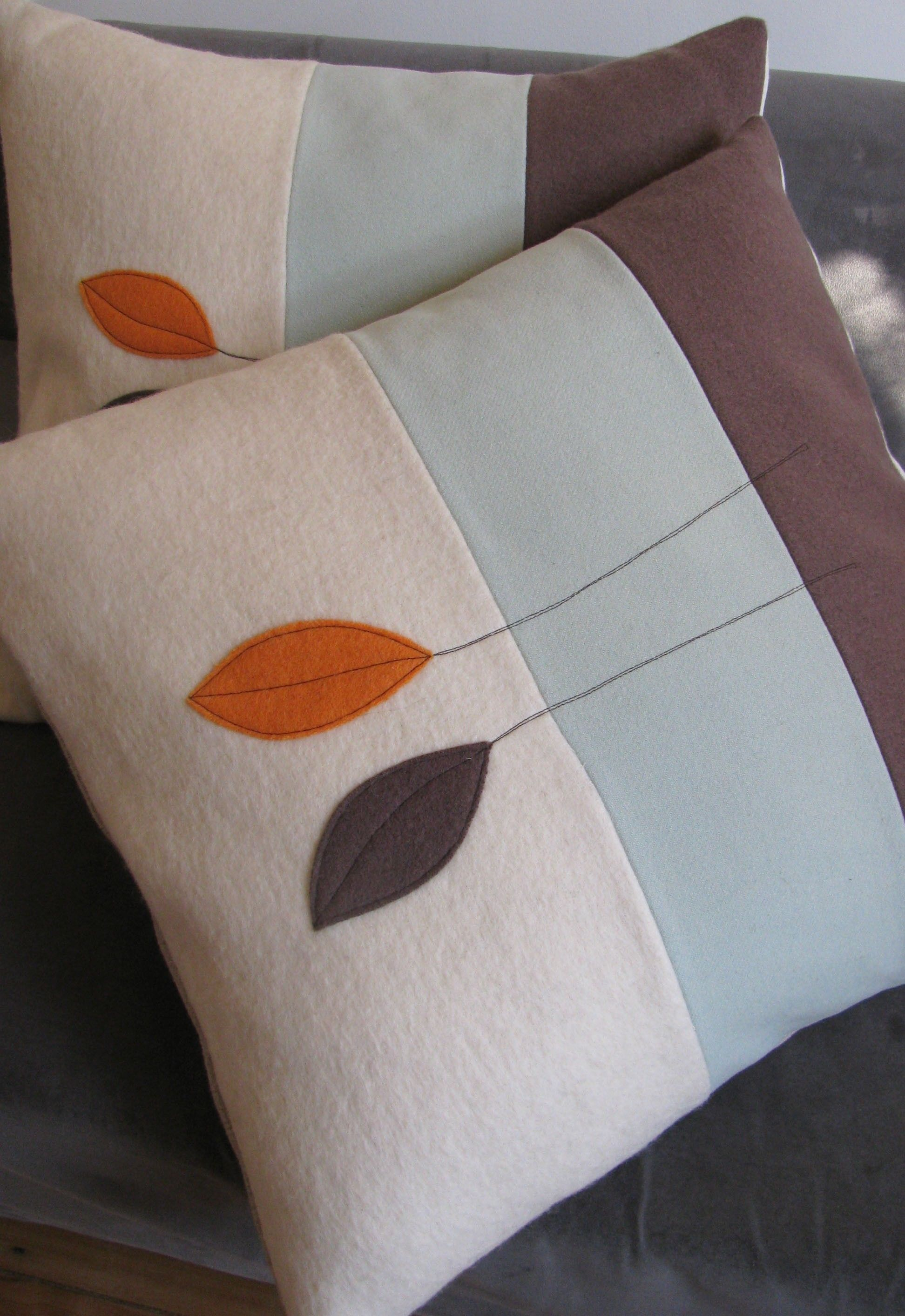 Contemporary leaf pillow try this with ginko leaf design sewing