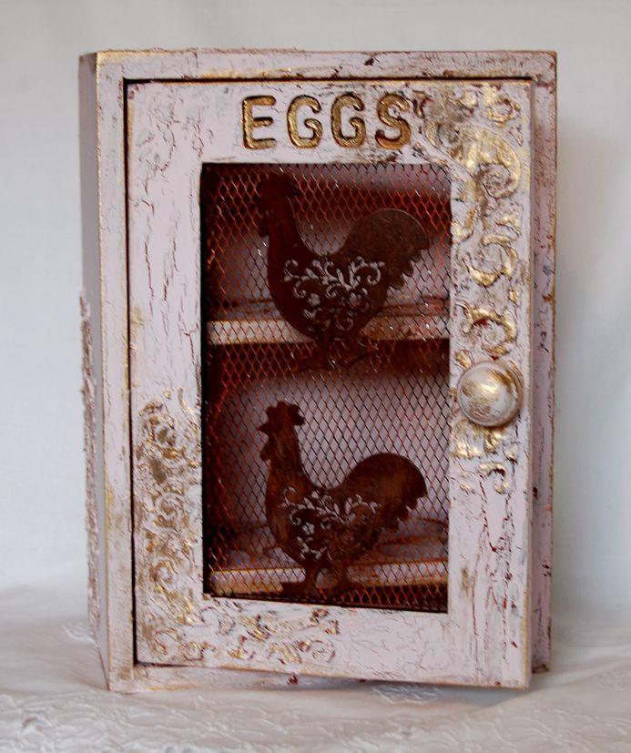 """Zuzu's Petals 'n' Stuff: A wooden egg cabinet gets a """"DecoArt makeover"""" treatment."""