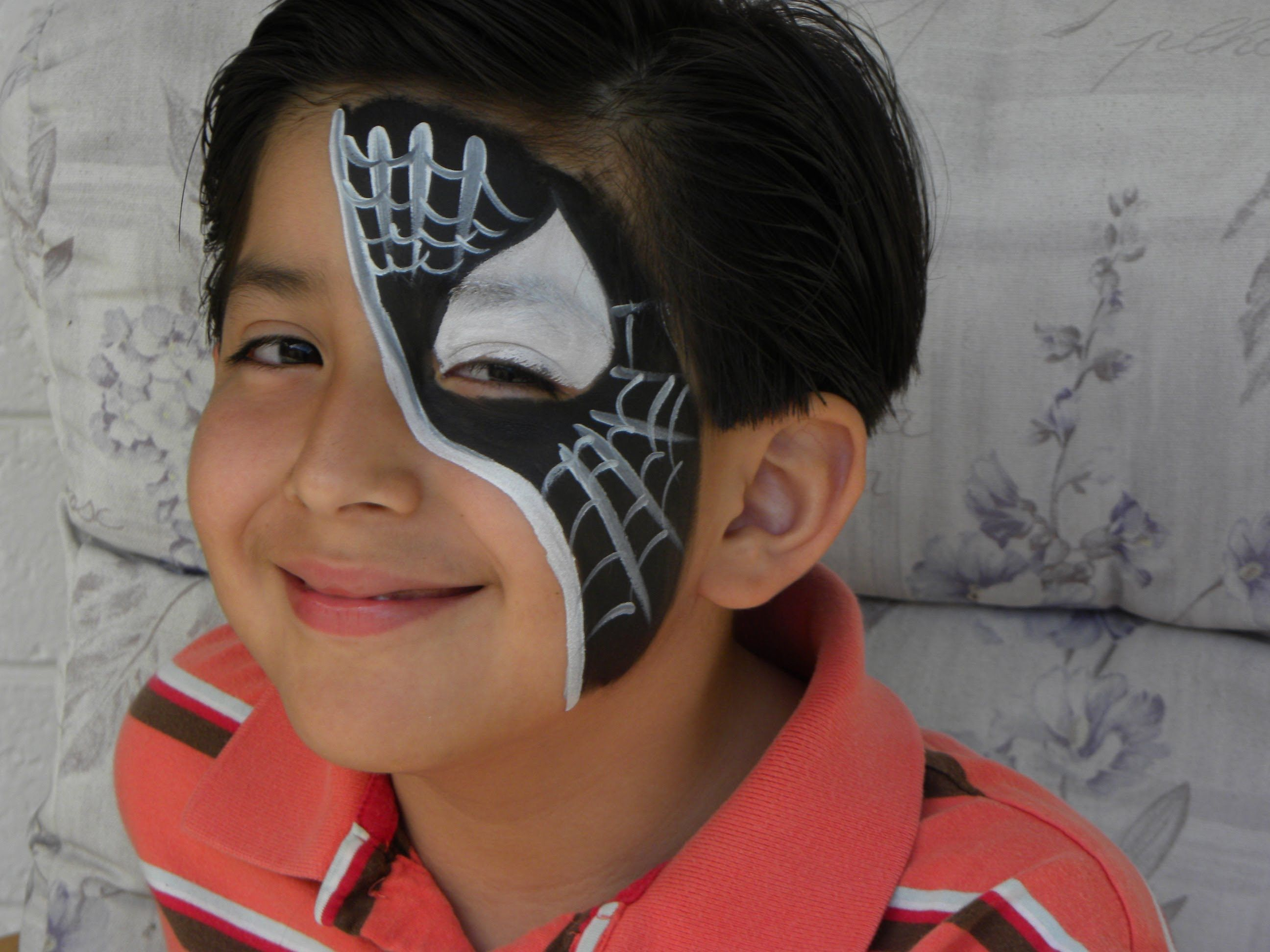 Pintura Facial Para Niños Black Spiderman Media Cara Pintacaritas Face Painting