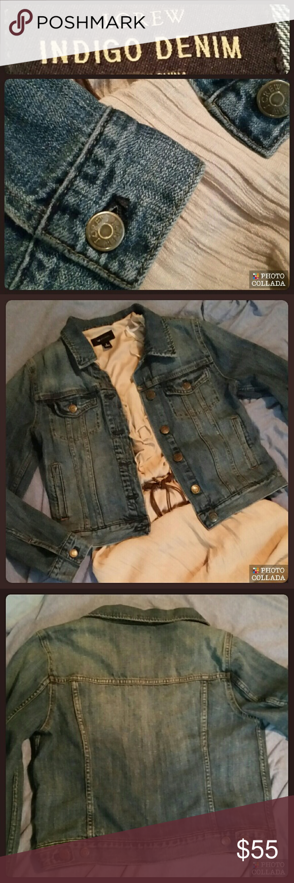 """??Indigo Denim Jacket by J. Crew    NWOT?? A wear-with-everything layer, made from Turkish denim (it's 50% """"normal"""" cotton and 50% recycled cotton, which gives the indigo wash a great look and feel) and finished with iconic vintage details. Aka, it's the cool-girl's jean jacket.  Cotton Functional buttons at cuffs Chest and welt pockets Machine wash 18.5"""" Length  (bottom of collar to hem) 23"""" Sleeve Length  36"""" Hem line (buttoned) 36"""" Armpit to armpit (buttoned) Hits at hips True to size…"""