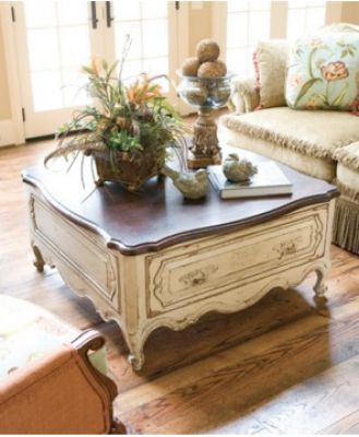 Custom Painted Vintage Ornate Coffee Table French Provincial