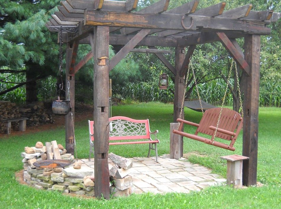 Pergola Built With Reclaimed Barn Beams For Campfires At
