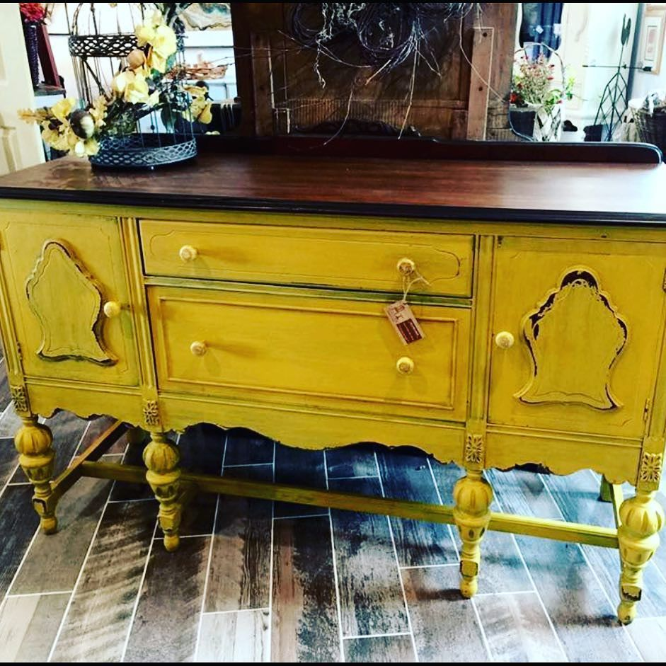 This precious mustard colored buffet is available at Always Never Done in Landisville Pa.  #confessionsofafurniturehoarder #paintedfurnitureprojects #paintedfurniture #yardsalelife #fleastyle #countrysideheirlooms